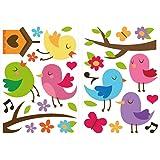 Wandtattoo Vogelarten süß mit bunten Kolibris Wandsticker Dekoration