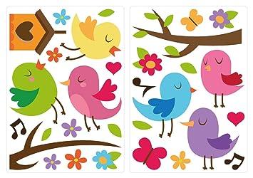 Wandtattoo Kinderzimmer Wandtattoo Set Niedliche Vögel in Farbe mit Herzen,  Blü