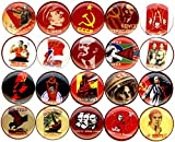 Communist propaganda x 20 NEW 1'' inch (25mm) button pin badge soviet ussr stalin lenin poster …