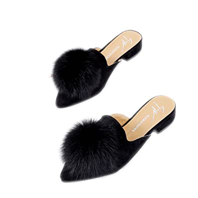 59263254844 WUSHUANG Women s Summer Pointed Toe Mules Fluffy Pom Poms Slip On Open Back  Close Toe Loafers Sandals Slipper for Women Girls