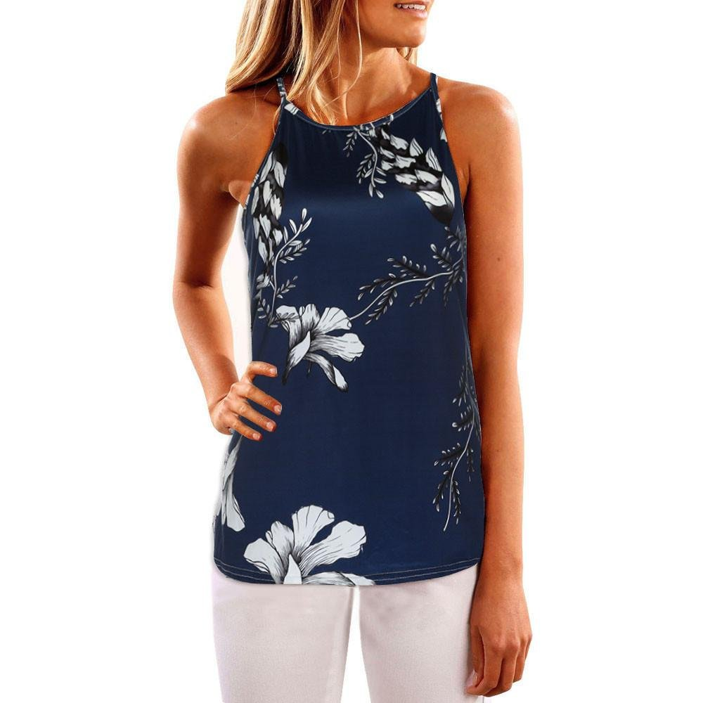 TIFENNY Women Sleeveless Flower Printed Casual Blouse Vest Top, (S, Dark-Blue)