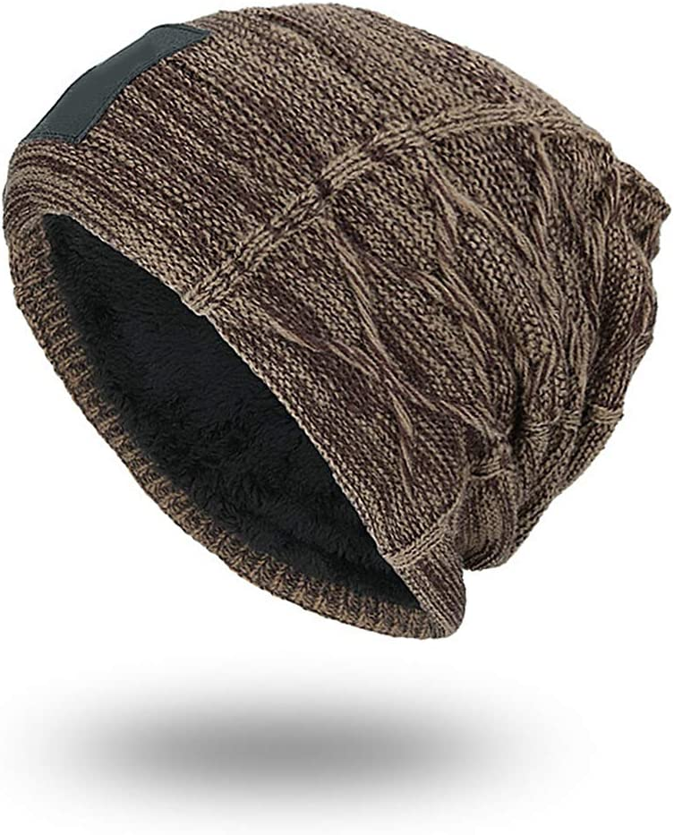 YHHX Slouchy Beanie for Men Winter Hats for Guys Cool Beanies Lined Knit Warm Knit Ski Hats Thick Skully Stocking Binie Hat Mens Outdoor Hats,Brown
