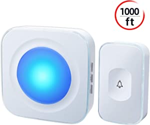 Wireless doorbell Touch push button Operating at 1000 feet with 36 Melodies, 4 Volume levels, Flash LED Light, Doorbell Waterproof for Home, Office (1 Receiver&1 Touch Button, White)