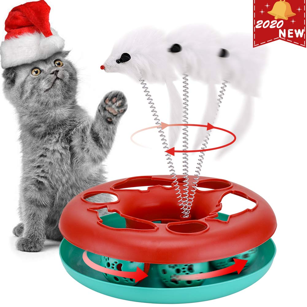 Cat Interactive Toys Roller Catch Ball Pet Kitten Fun Toy with Teaser Mouse Exercise Puzzle Christmas (red)