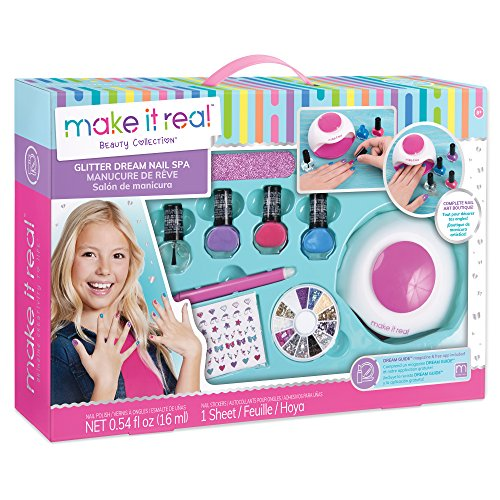 Make It Real - Glitter Dream Nail Spa.  Nail Art Manicure Set for Kids, Complete with Nail Polish, Glitter, Gems, Stickers, Nail Dryer and More