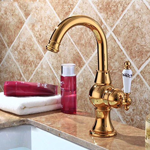 Bathroom Sink Faucet Full Copper Kitchen Basin Faucet Single Hole Gold-Plated European Style Ceramic Handle Bathroom Faucet by SJQKA
