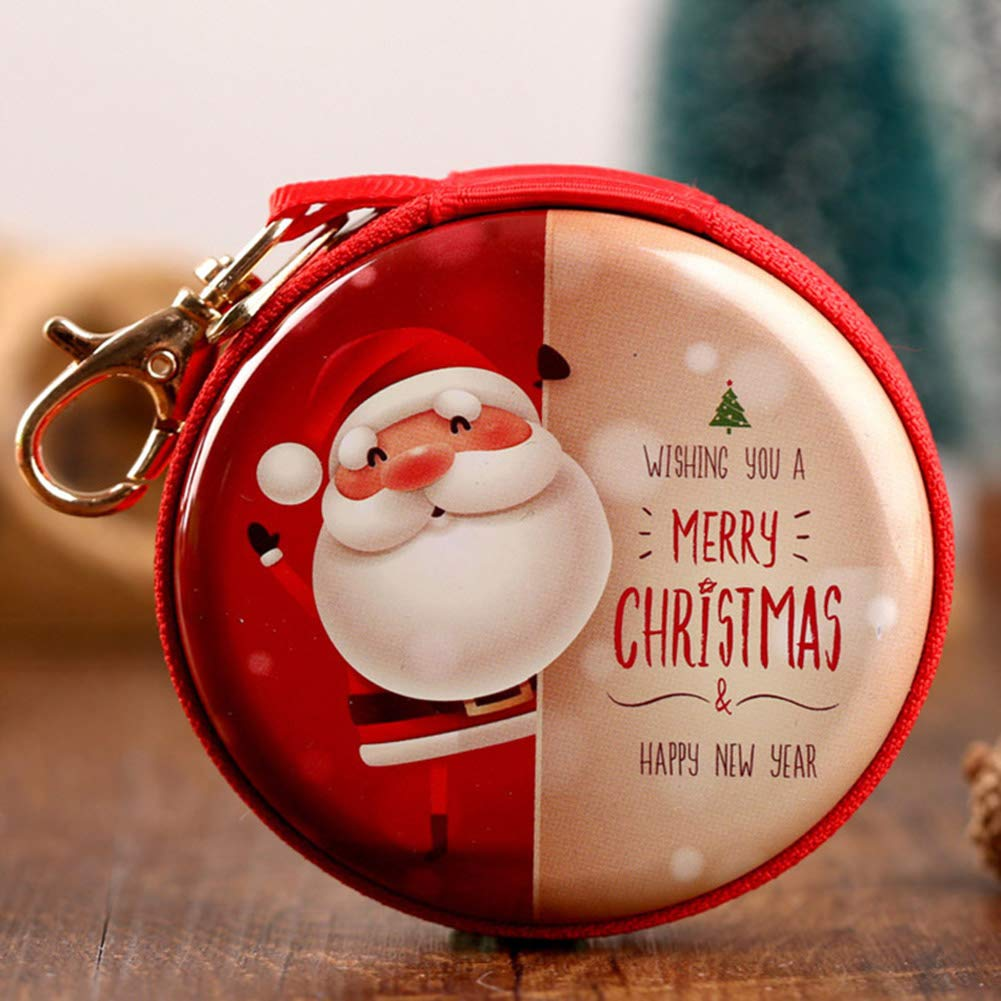 ZFRANC 5 Pcs Cute Santa Claus Candy Coin Purse with Zip Children Pocket Small Money Wallet Pouch Key Cases