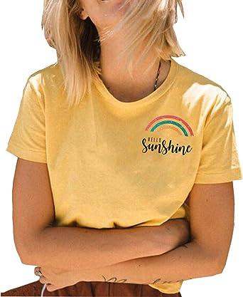 JINTING Hello Sunshine Camisa Linda con gráficos para Mujeres, Adolescentes, niñas, con Letras Impresas y Frases: Amazon.es: Ropa y accesorios