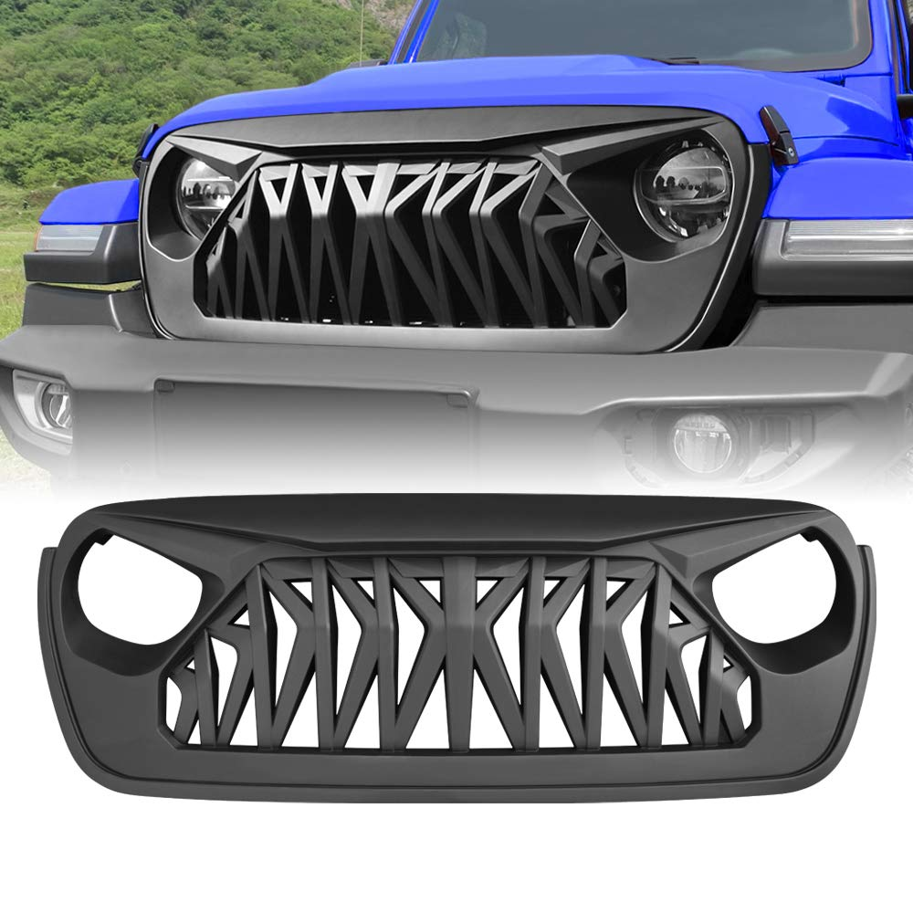 AMERICAN MODIFIED Matte Black Front Grill Grille for 2018-2020 Jeep Wrangler JL /& Jeep Gladiator JT