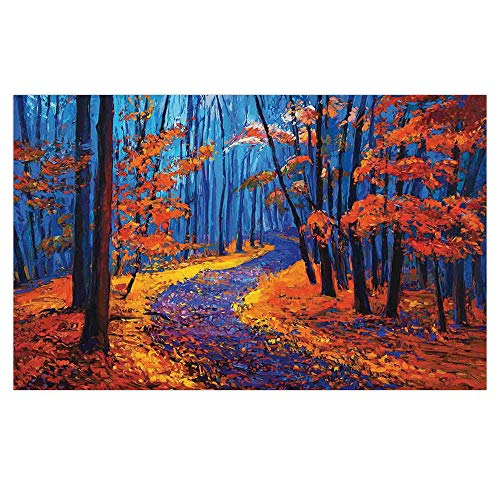 3D Floor/Wall Sticker Removable,Country Decor,Dark and Deep in The Forest in Fall Autumn Season Silence Calm Magical Nature Art Paint,Orange Navy,for Living Room Bathroom Decoration,35.4x23.6