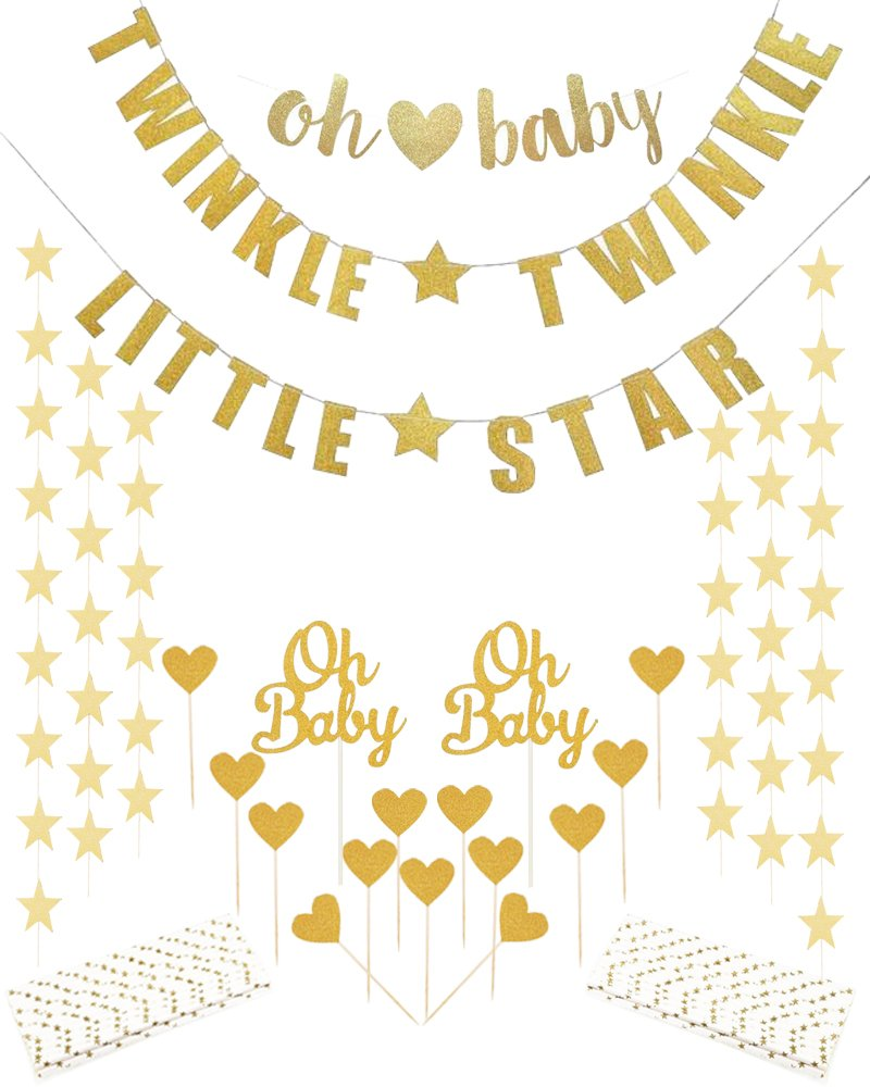 Baby Shower Decorations Gold oh baby Banner Twinkle Twinkle Little Star Banner Star Garlands Paper Straws Heart Cupcake Toppers for Baby Birthday Party Supplies Favors
