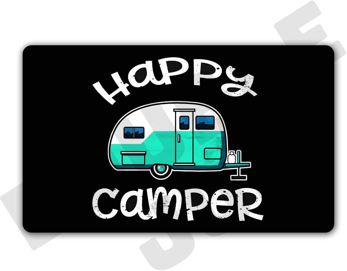 "DoubleJun Funny Happy Camper Caravan Camping Entrance Mat Floor Rug Indoor/Front Door Mats Home Decor Machine Washable Rubber Non Slip Backing 29.5""(W) X 17.7""(L)"
