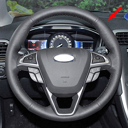 Eiseng DIY Stitching Genuine Leather Steering Wheel Cover for Ford Edge 4dr SUV 2015 2016 2017 / For (Steering Wheel Cover Ford Edge)