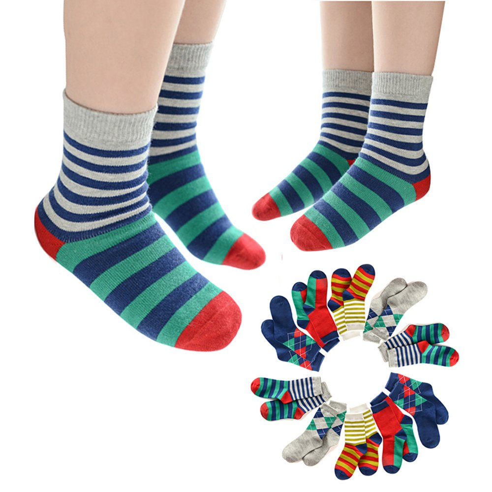 Queen-Ks Kids Contrast Color Striped Argyle Crew Cotton Socks Non Skid Thick for 3t 5t-8t Boys and Girls 5/10 Pairs Pack (10 Pairs/3-5 Years Old, As Picture)