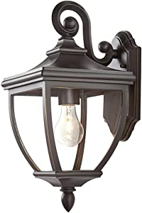 "Home Decorators Collection 23462 1-Light Oil-Rubbed Bronze Outdoor 8"" Wall Mount Lantern with Clear Glass"