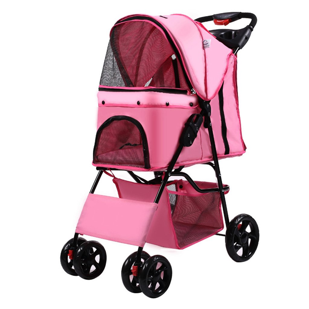 Pink Pet Stroller Four Wheel Jogger Lightweight Folding Carrier Strolling Cart For Small And Medium Pets. Cacoffay