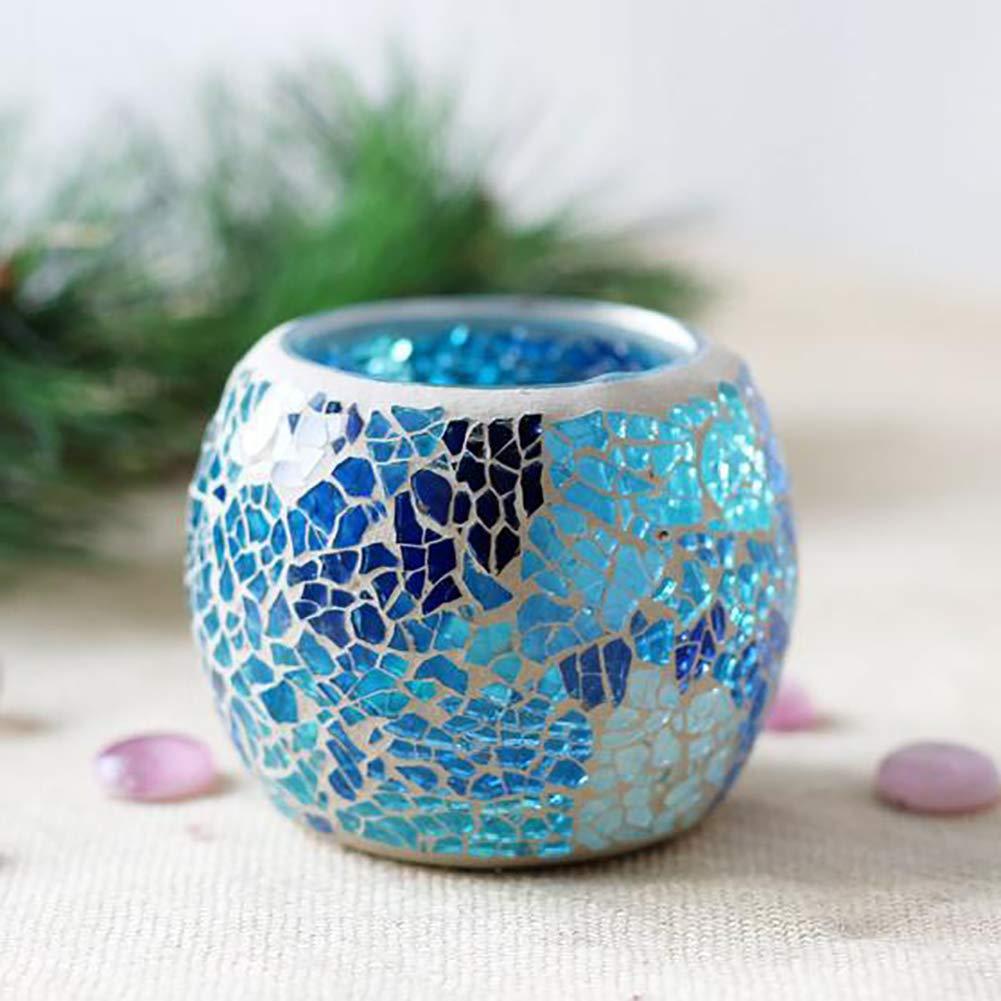 Decorazione da tavolo YIDOU Candeliere in vetro a mosaico che desidera portacandele a lume di candela per matrimonio