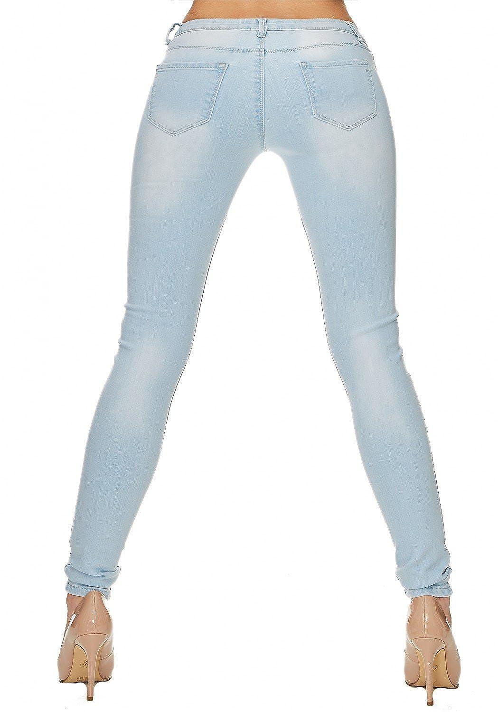 Damen Jeans (Slim Fit/Regular Waist) Stretch-Jeans, ripped/Cut-Out mit  bedruckten Fransen (Regenbogen) und leichter Waschung D1709: Amazon.de:  Bekleidung
