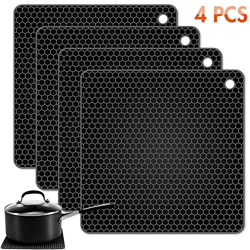 Tonmidej Silicone Pot Holder Square Honeycomb Pattern 7.2 x 7.2 x 0.2 inch/Black - Set of 4 ()