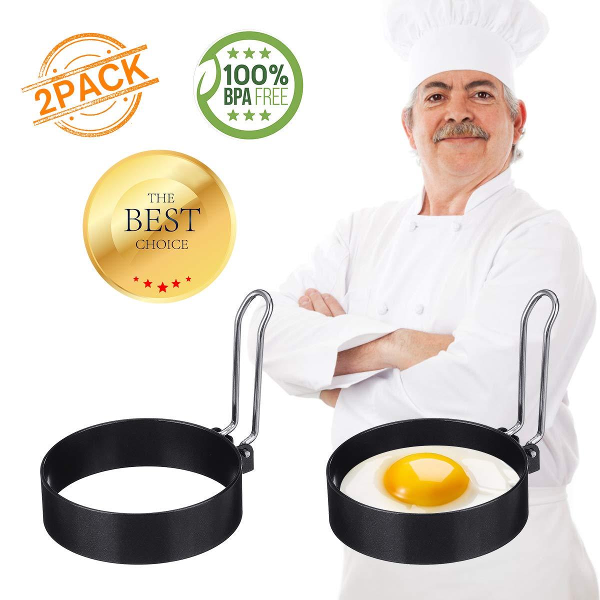 Egg Ring, ARTISTORE 2 Pack Round Egg Pancake Maker Mold, Stainless Steel Non Stick Metal Circle Shaper Mold, Household Kitchen Cooking Tool for Frying or Shaping Eggs, Egg Maker 3 Inch. Best gift for