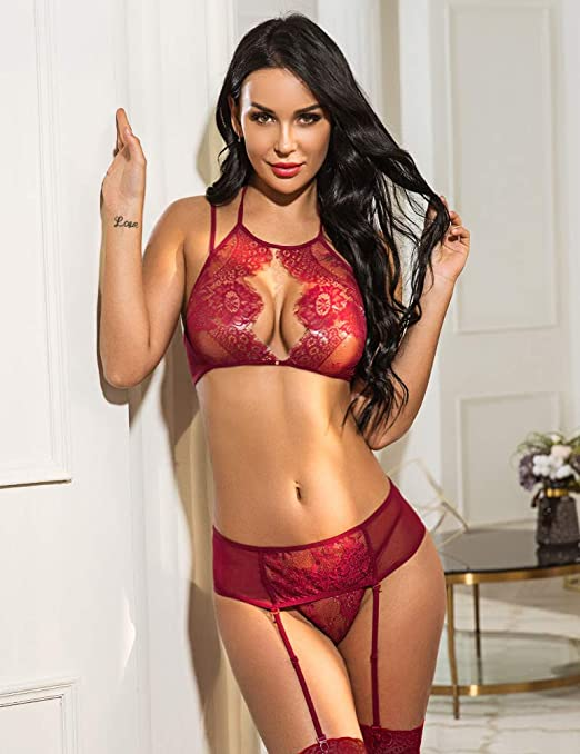 13d1c93f8 Amazon.com  Avidlove Women Lace Lingerie Set with Garter Belts Lace Teddy  Babydoll Bodysuit Wine Red Small  Clothing