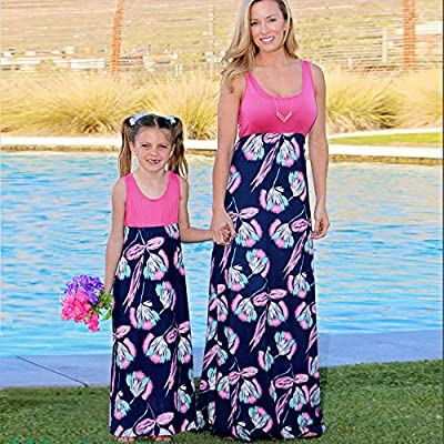 Lurryly Family Matching Mom Baby Girls Floral Print Sundress Sleeveless Dress Outfits