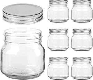 Mason Jars Regular Mouth - 8 oz Clear Glass Jars with Silver Metal Lids for Sealing, Food Storage, Overnight Oats, Jelly, Dry Food, Jam,DIY Magnetic Spice Jars, 6 Pack