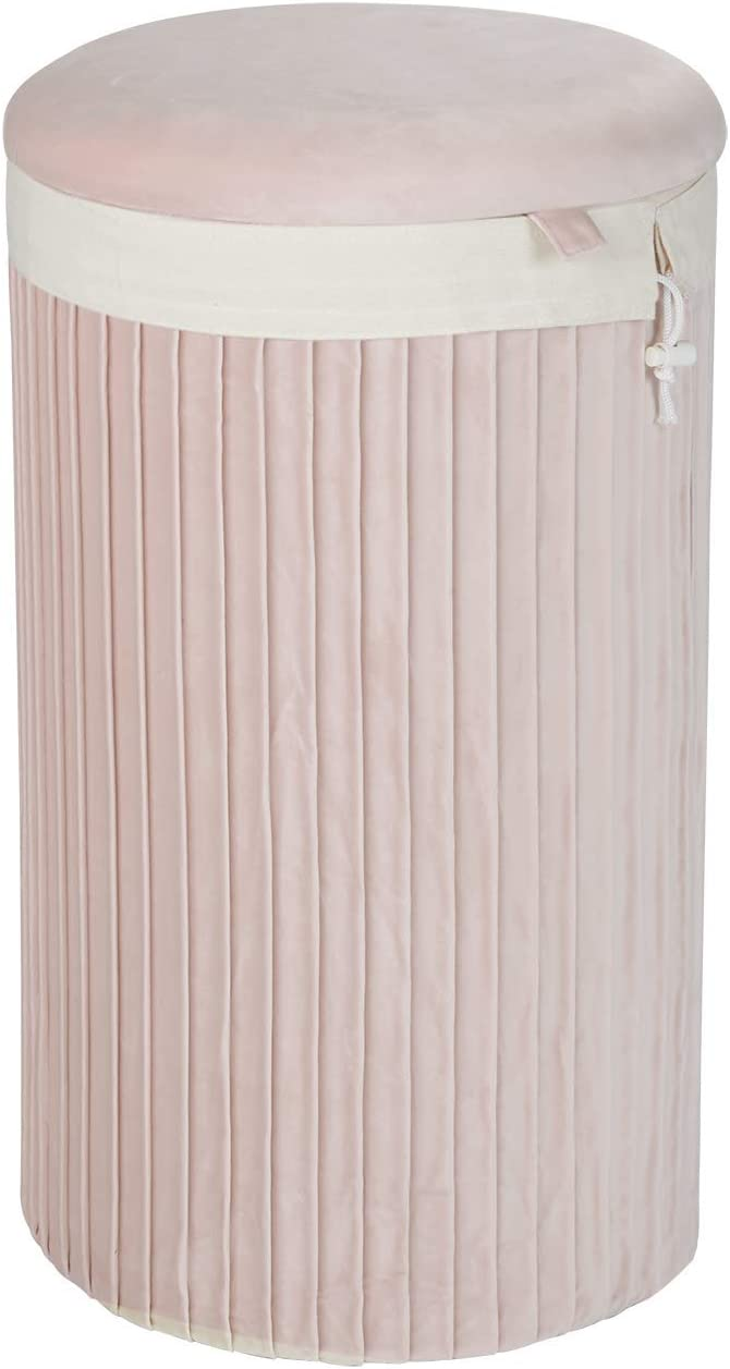 Inspire Me! Home Décor Lydia Round, Pleated Blush Pink Soft Velvet Removable Washable Bag, 14 Dia x 24 in, Gorgeous and Classy Laundry or Storage Hamper