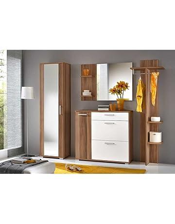 JUSTyou IDO Conjunto de muebles de entrada recibidor Tamaño: 195x225x35 cm Ciruelo Mat / Blanco