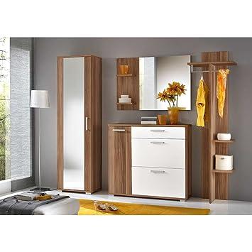 JUSTyou IDO Conjunto de muebles de entrada recibidor Tamaño: 195x225x35 cm Ciruelo Mat / Blanco Mat