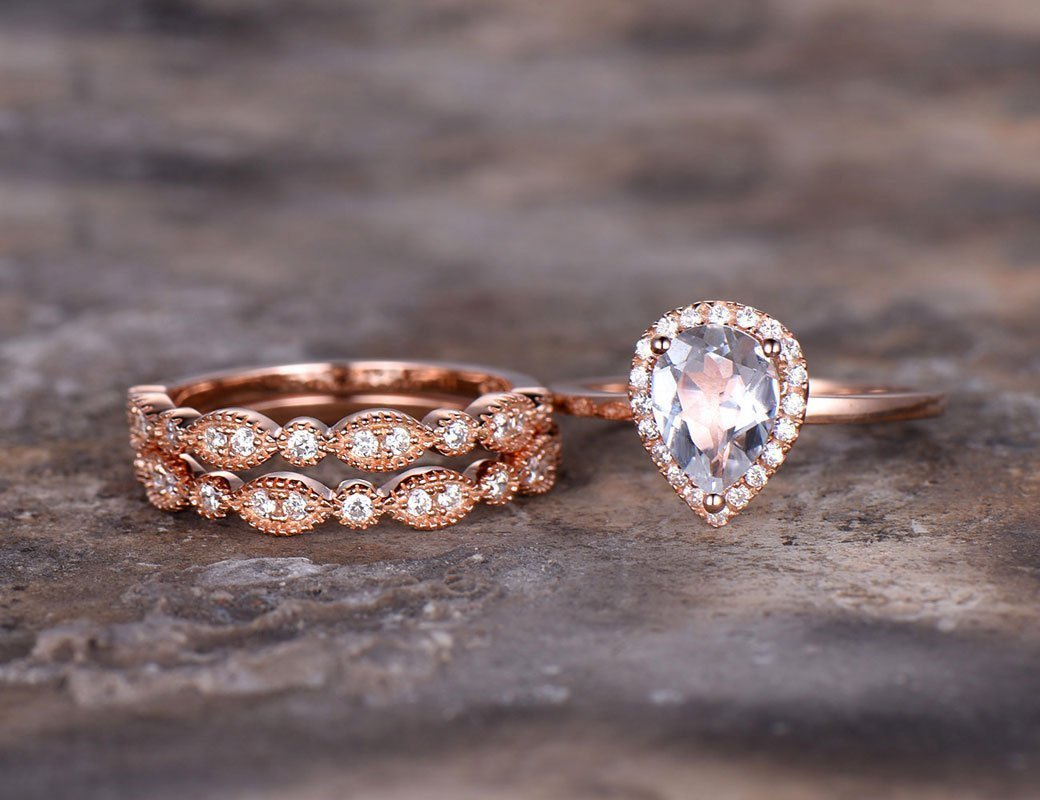 3pcs rose gold plated wedding ring set,6x8mm Pear cut white topaz,925 sterling silver stacking Bridal,marquise matching band,Man Made diamond CZ ring,any size