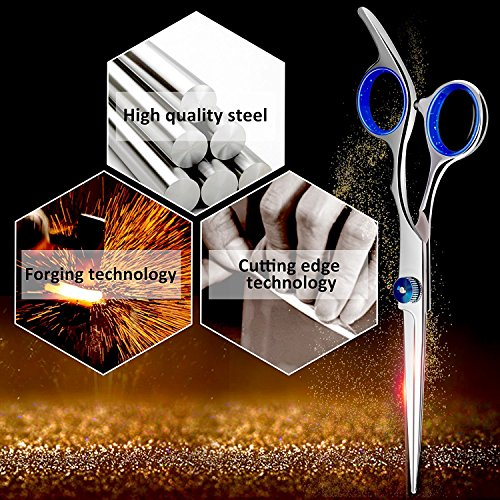 Hair Cutting Scissors Shears and Barber Thinning Salon Razor Edge Tools Set Mustache Scissors with Fine Adjustment Screw Japanese Stainless Steel Kit-by Drift(Silver)