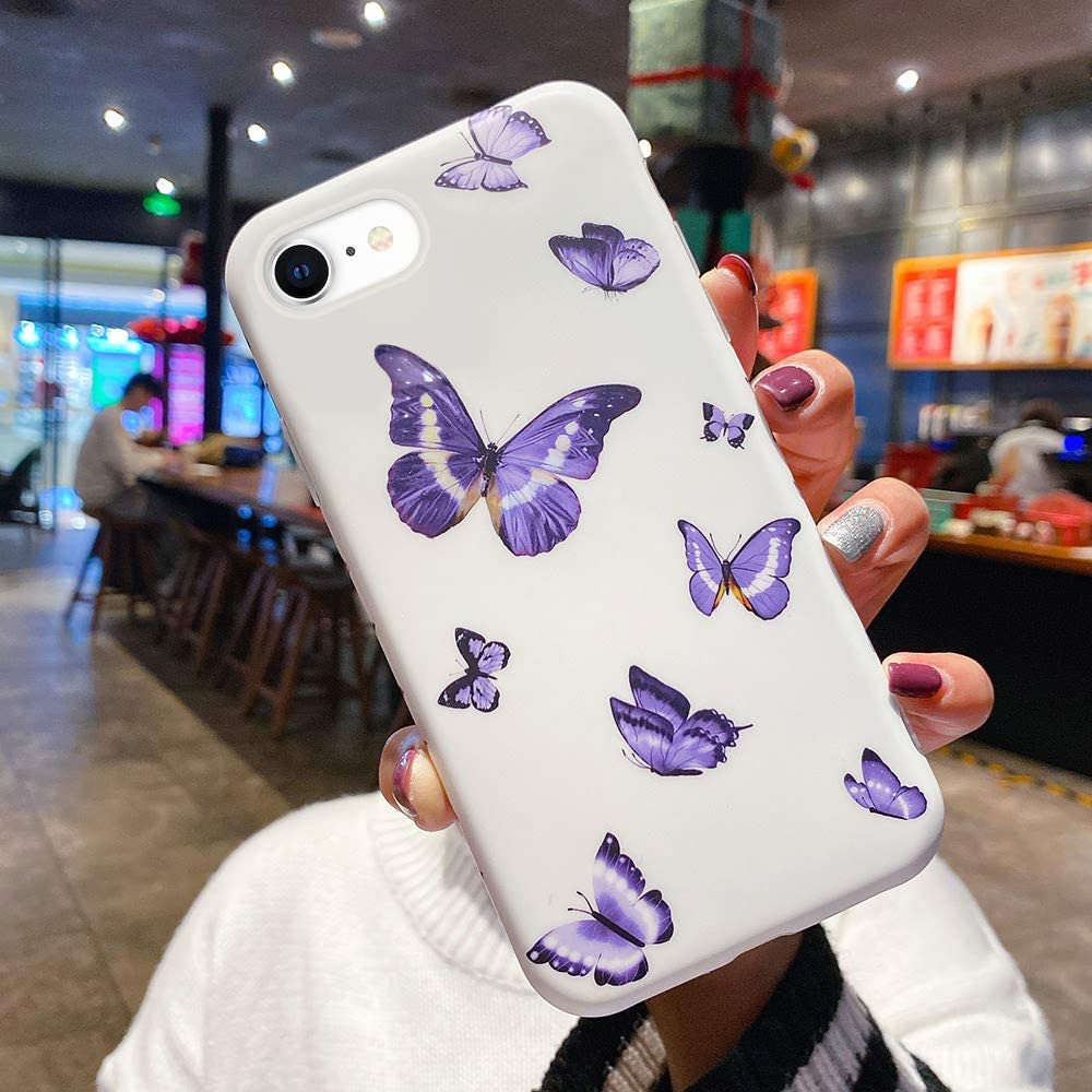 Urarssa Girls Case for iPhone 7 Plus Case iPhone 8 Plus Case Cute Butterfly Pattern Design for Girls Women Shockproof Soft TPU Rubber Silicone Protective Case Cover for iPhone 7 Plus/8 Plus, Purple