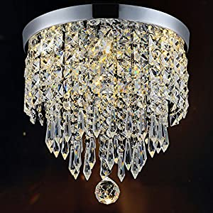 "Hile Lighting KU300074 Modern Chandelier Crystal Ball Fixture Pendant Ceiling Lamp H9.84"" X W8.66"", 1 Light"