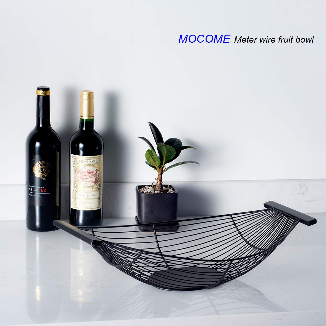 Mocome Decorative Fruit Bowl Long Boat Black Metal Wire Fruit Basket For Kitchen Dining Counter Tabletop Home Decor ,Large Capacity 18.6 Inch