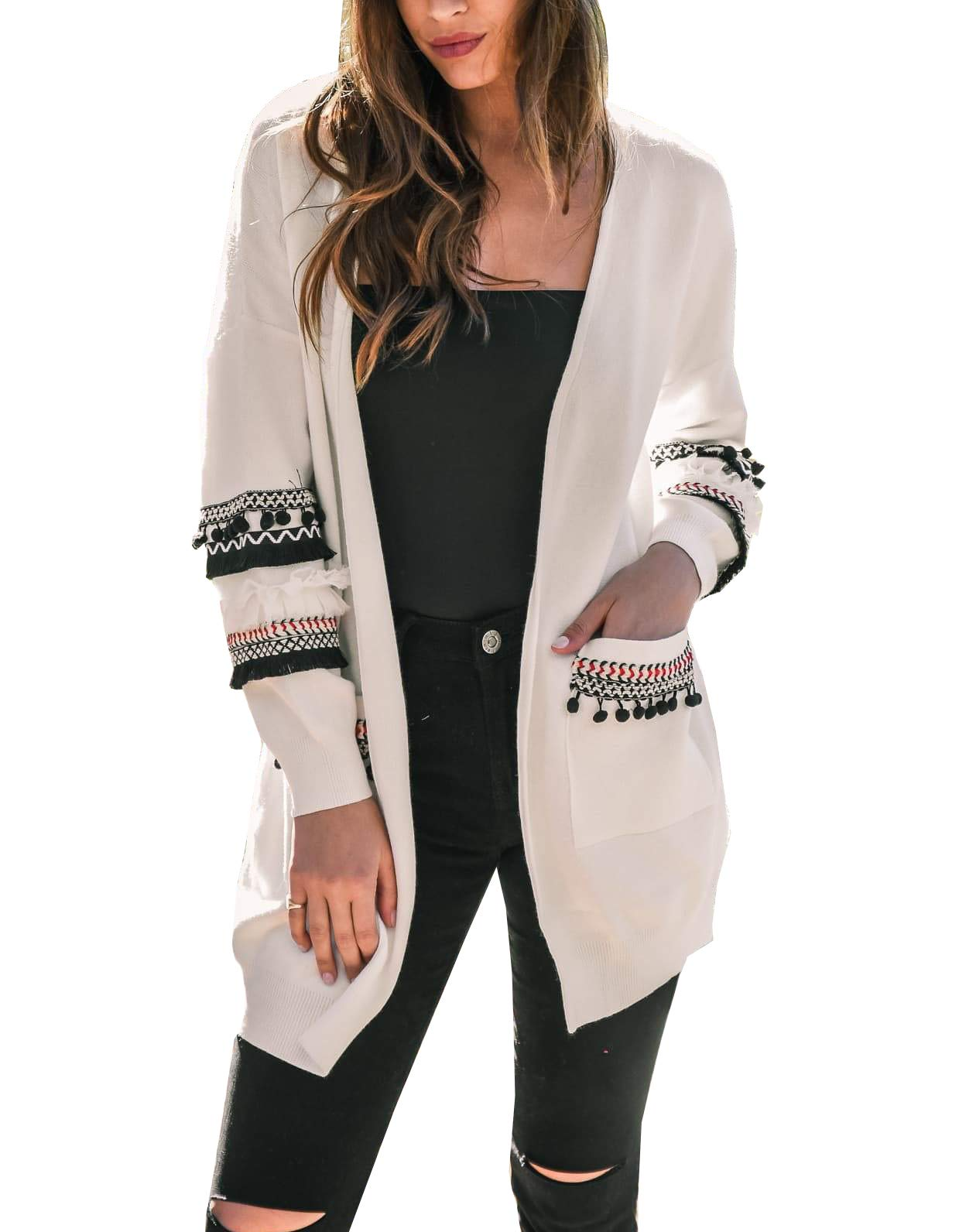 BTFBM Women Boho Long Sleeve Open Front Knit Cardigan with Pockets Bohemian Knitted Sweater Outwear Coat Tops (White, Small)