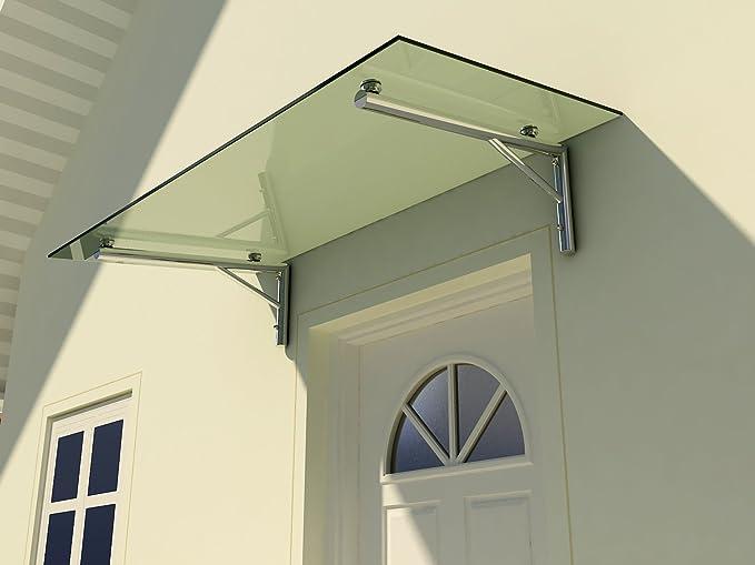 Glasart:Klarglas Gr/ö/ße:175 x 90 cm Haust/ür/überdachung aus Sicherheitsglas f/ür einen modernen und gesch/ützten Eingangsbereich Glasvordach Zugstreben 90 cm Tiefe