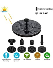 Solar Birdbath Fountain, Tenlso Solar Powered Water Fountain Pump Kit, 2W Free Standing Floating Bird Bath Water Pumps for Outdoor Garden Patio Pond Pool