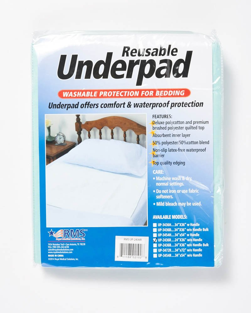RMS Ultra Soft 4-Layer Washable and Reusable Incontinence Bed Underpads, 18''X24'' (3 Pack)