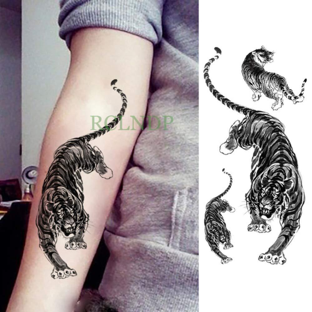 5pcsPegatina de Tatuaje a Prueba de Agua Tiger Animal Leg Arm Hand ...