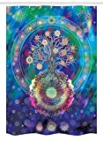Ambesonne Mandala Stall Shower Curtain, Tree of Life Floral Style Mandala Spiritual Artwork Meditation Peace Spa Design, Fabric Bathroom Decor Set with Hooks, 54 W x 78 L inches, Blue Purple
