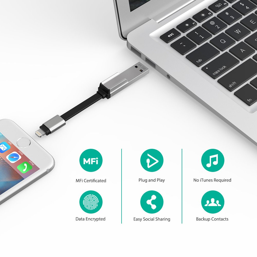 iPhone Flash Drive 128GB MFi Certified USB 3.0, RAVPower iOS Flash Drive Photo Stick for iPhone iPad with Charging Support, Touch ID Encryption, Compatible iPhone X XR 6S 7 iPad Mac Windows by RAVPower (Image #6)
