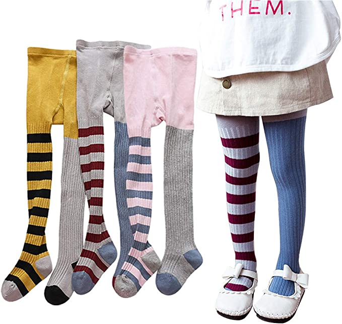 Ehdching 3 Pack Non-skid Bow Leggings Pant Tights for 0-3T Infant Toddler Baby Girls