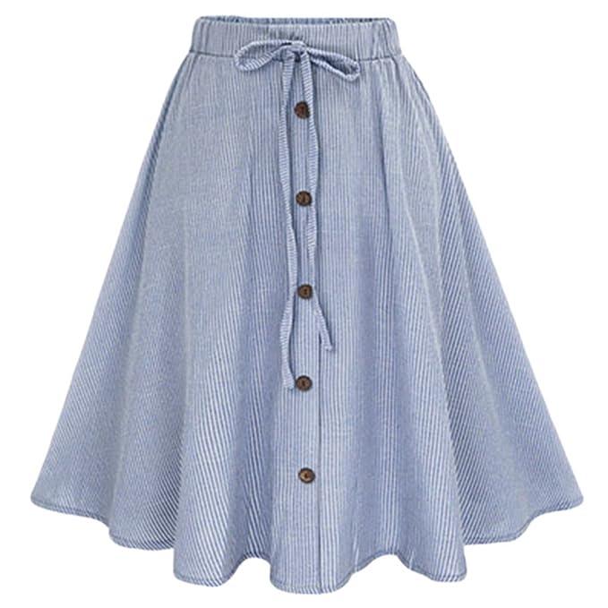DianShaoA Donne Elegante A Vita Alta Larghi Gonna di Jeans con Bottoni Monopetto Lunghi Denim Sciolto Tinta Unita
