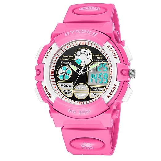 Antrygobin - Reloj de Pulsera para niño, Luminoso, Impermeable, analógico, con Fecha y Hora Rosa: Amazon.es: Relojes