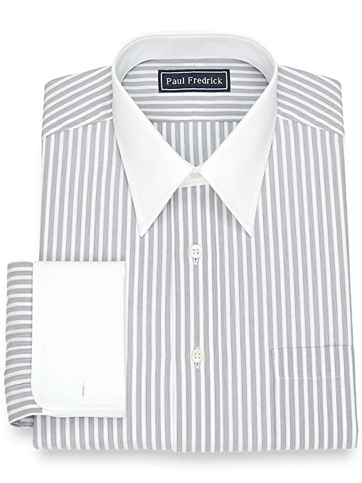 1920s Style Mens Shirts | Peaky Blinders Shirts and Collars Paul Fredrick Mens Cotton Stripe Dress Shirt $84.50 AT vintagedancer.com