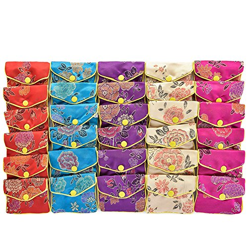 30PCS Jewelry Silk Purse Pouch Small Jewellery Gift Bag Chinese Brocade Embroidered Coin Organizers Pocket with Snap and Zipper Closure for Women Girls Necklaces Earrings Bracelets