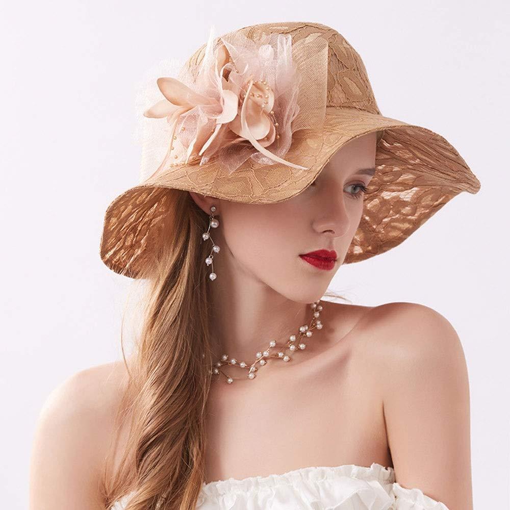 Party Hat Color : Khaki Flower Design Bridal Wedding Hat WangZhiGang Womens Summer Outdoor Hat Beach Sun Hat