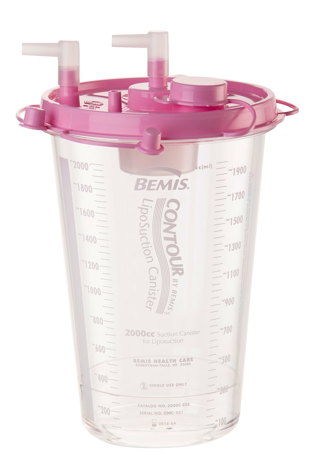 Bemis Health Care Contour Liposuction Canister, 2000cc, Pink Lid, Pack of 12, 2000C 025