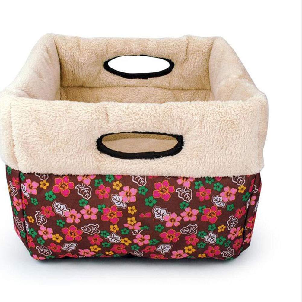 MIAOLIDP Cat floral canvas fabric lambskin lining warm cat litter cat supplies Pet supplies